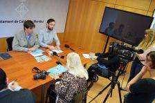 Jordi Solé i Jaume Mauri, en la roda de premsa celebrada avui