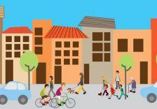 Il·lustració carrer i vianants